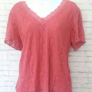 COVINGTON pink lace short sleeve top